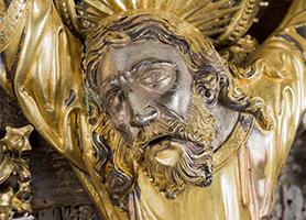 Gefasste Andreaskreuz-Reliquie um 1440 Wiener Goldschmiedewerkstatt Domschatz St. Stephan Leni Deinhardstein, Lisa Rastl, Dom Museum Wien
