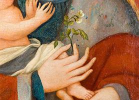 Maria mit der Erbsenblüte Spätes 14. Jahrhundert  Diözesane Sammlung Leni Deinhardstein, Lisa Rastl, Dom Museum Wien